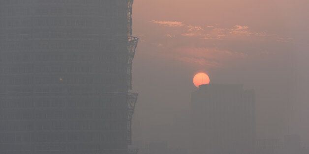 A view of sunset is seen in smog in Zhengzhou, Henan province, China January 2, 2017. Picture taken January...