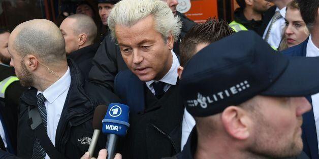 Dutch far-right politician and leader of the Partij Voor De Vrijheid (PVV or Freedom Party) Geert Wilders...
