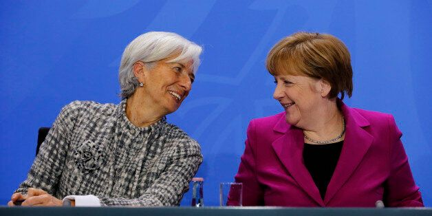 (GERMANY OUT) Christine Lagarde, Head of the International Monetary Fund (IMF), German Chancellor Angela...