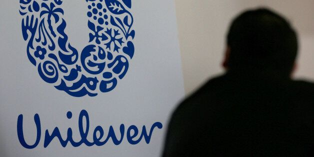 The logo of the Unilever group is seen at the Miko factory in Saint-Dizier, France, May 4, 2016. REUTERS/Philippe...