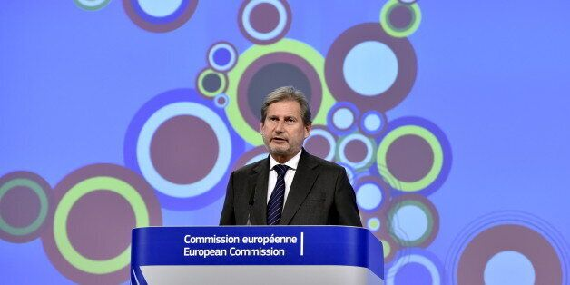 European Neighbourhood Policy and Enlargement Negotiations Commissioner Johannes Hahn gestures during...