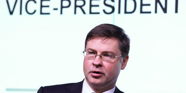 Valdis Dombrovskis, vice president of the European Commission, delivers a keynote speech during Capital...