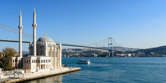 Ortakoy Mosque on the Bosphorus in Istanbul,