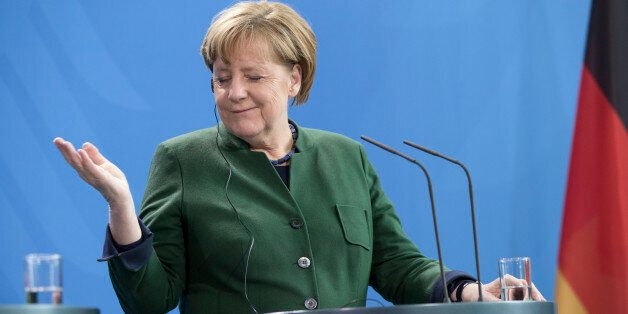 German Chancellor Angela Merkel is pictured during a news conference held with President of Uruguay Tabare...