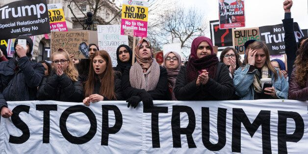 LONDON, Feb. 4, 2017 : Thousands of demonstrators protest against Donald Trump travel ban on Muslim's...
