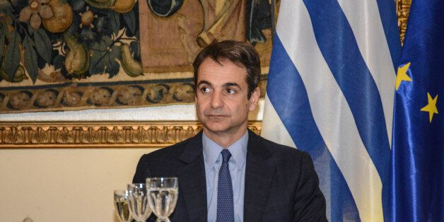 Leader of Opposition and Nea Dimokratia Kyriakos Mitsotakis during official dinner with the president...