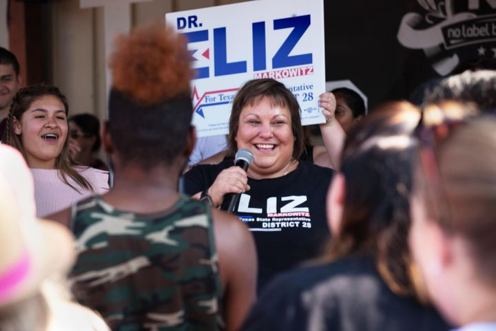 Eliz Markowitz speaks to voters at a Sept. 14 rally with Beto O'Rourke. Democrats hope her victory in an upcoming speci