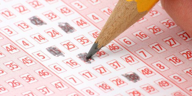 Lottery Ticket and pencil close up