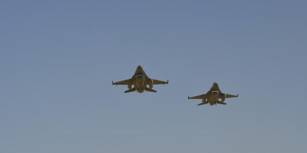 Ankara, Turkey - September 10, 2015: Turkish Air Force's 2 F-16 Falcon is at the air show over Dua Hill...