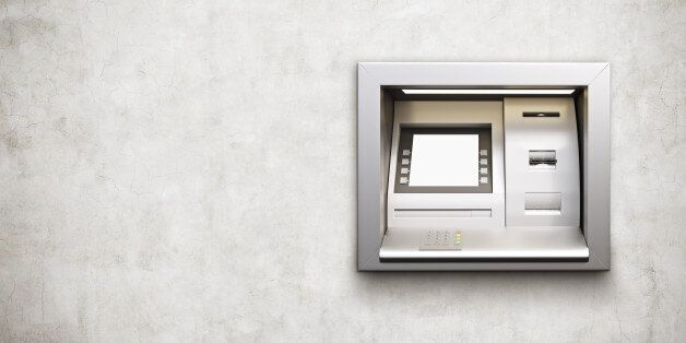 Built-in ATM machine with blank display on concrete background. Mock up, 3D