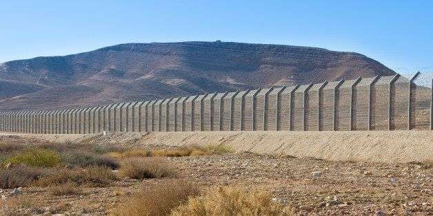 The new border fence between Israel (Negev Desert) and Egypt (Sinai