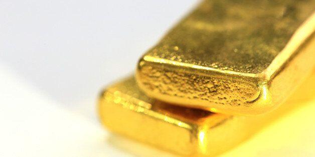 Shiny Gold Bar on White