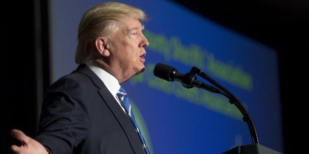 US President Donald Trump speaks at the Major Cities Chiefs Association and Major County Sheriff's Association...