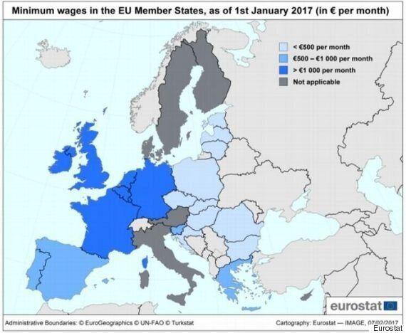 Χάρτης Eurostat: Οι κατώτατοι μισθοί στην Ευρώπη. Πού είναι η