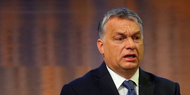 Hungarian Prime Minister Viktor Orban delivers a speech during the European Bank for Reconstruction and...