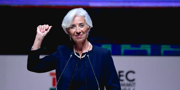 IMF Managing Director Christine Lagarde gestures as she speaks during a session of the APEC CEO Summit,...