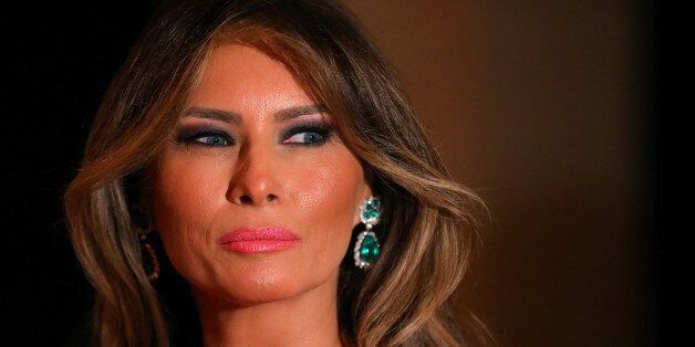 First Lady Melania Trump and U.S. President Donald Trump (not pictured) attend the 60th Annual Red Cross...