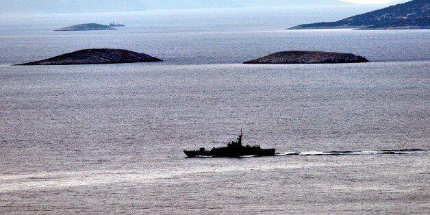 MUGLA, TURKEY - JANUARY 30: Turkish and Greek coast guard boats patrol around the Kardak islets in the...