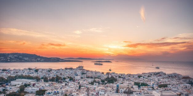Sunset high angle view of the cityscape of Mykonos,