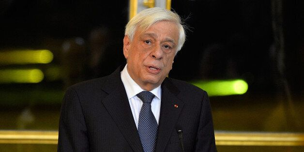 PARIS, FRANCE - DECEMBER 12: Greek President Prokopis Pavlopoulos addresses the press after a meeting...