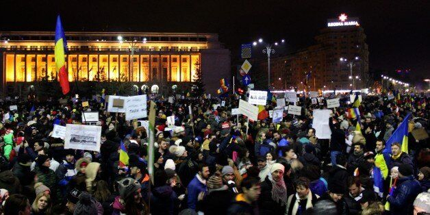 BUCHAREST, ROMANIA - FEBRUARY 4: Thousands of Romanian protest against the new Romanian government's...