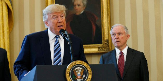 U.S. President Donald Trump speaks during a swearing-in ceremony for new Attorney General Jeff Sessions...