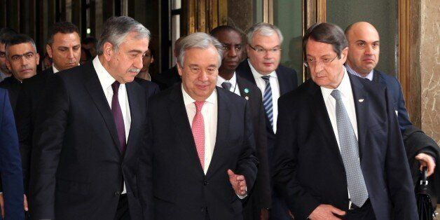 GENEVA, SWITZERLAND - JANUARY 12: Secretary General of the United Nations (UN) Antonio Guterres (C),...