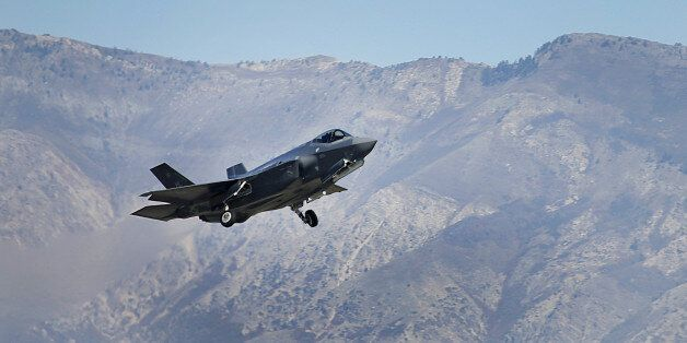 A Lockheed Martin Corp. F-35A jet flies during a training mission in Hill Air Force Base, Utah, U.S.,...