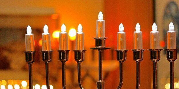 Electric Hanukkah - Festival of Lights menorah lights at night
