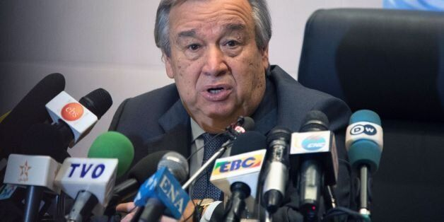 United Nations Secretary General Antonio Guterres gives a press conference on the sidelines of the 28th...