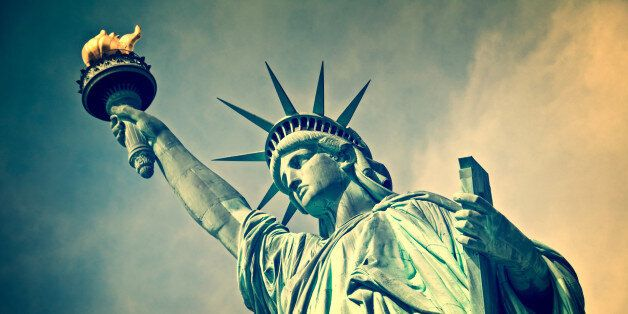 Close up of the statue of liberty, New York City, vintage