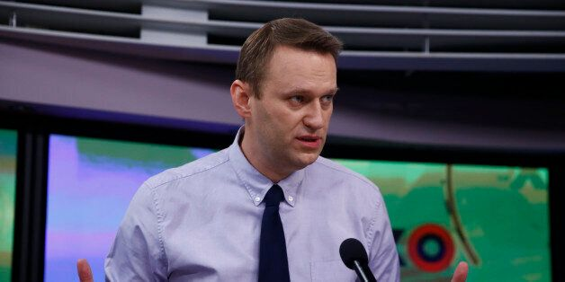 Russian opposition figure and anti-graft campaigner Alexei Navalny talks on air at the Ekho Moskvy radio...