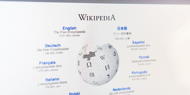 Toronto, Canada - March 6, 2011: Close up of Wikipedia\'s main page on an LCD computer monitor. Wikipedia...