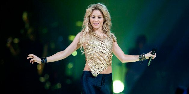 BERLIN, GERMANY - DECEMBER 09: Colombian singer Shakira peforms live during a concert at the O2 World...