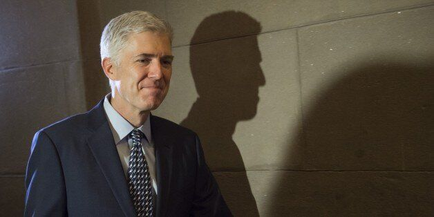 Supreme Court nominee Judge Neil Gorsuch arrives for a meeting at the US Capitol in Washington, DC, February...