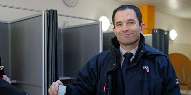 Former French minister and candidate Benoit Hamon votes in the first round of the French left's presidential...