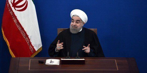 TEHRAN, IRAN - JANUARY 17: Iranian President Hassan Rouhani holds a press conference in Tehran, Iran...