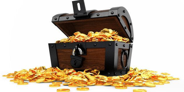 Digitally generated image of opened chest full of golden coins. Isolate on