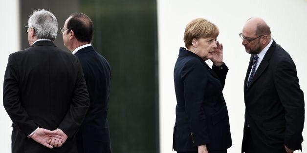 (LtoR) European Commission President Jean Claude Juncker, French President Francois Hollande, German...