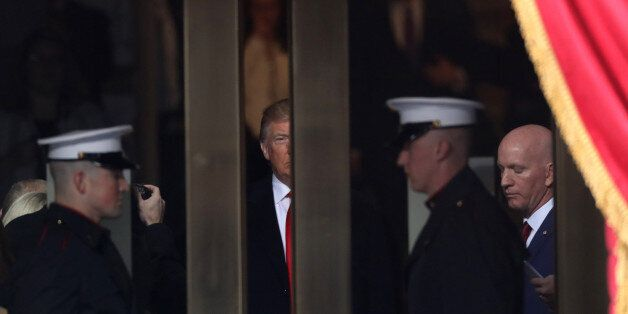 U.S. President-elect Donald Trump waits to walk out to the platform to be sworn in as the 45th president...