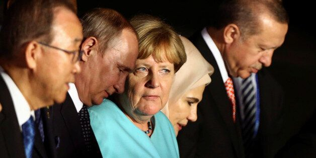 UN Secretary General Ban Ki-moon, Russian President Vladimir Putin, German Chancellor Angela Merkel,...