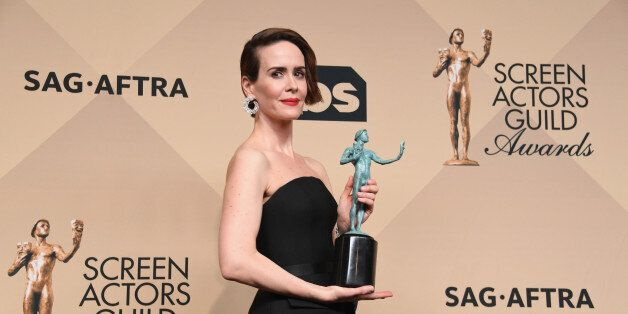 LOS ANGELES, CA - JANUARY 29:  Actress Sarah Paulson, winner of the Outstanding Performance by a Female Actor in a Miniseries or Television Movie for 'The People v. O.J. Simpson: American Crime Story', poses in the press room during the 23rd Annual Screen Actors Guild Awards at The Shrine Expo Hall on January 29, 2017 in Los Angeles, California.  (Photo by Alberto E. Rodriguez/Getty Images)