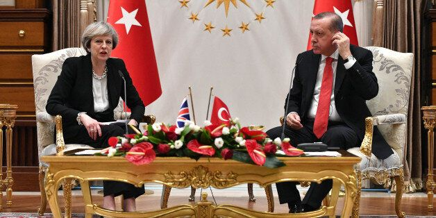 ANKARA, TURKEY - JANUARY 28: British Prime Minister Theresa May attends a meeting with President Recep...