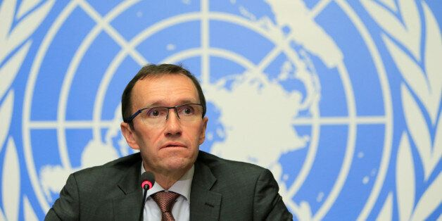 U.N. Special Advisor on Cyprus Espen Barth Eide speaks during a news conference in Geneva, Switzerland...