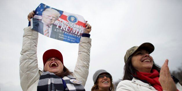 WASHINGTON, D. - JANUARY 20: Jennifer Wahler, 42, celebrates as Donald Trump is sworn in as the 45th...