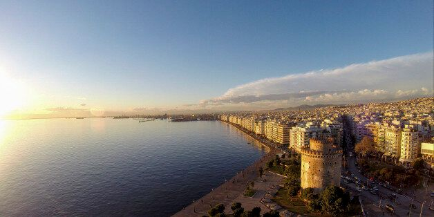 THESSALONIKI, GREECE - AUGUST 28 : Aerial view of The White Tower of Thessaloniki on August 28, 2015...