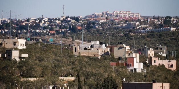 CORRECTION - A general view taken on January 23, 2017 from the Palestinian West Bank village of Hares,...