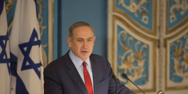 JERUSALEM, ISRAEL - JANUARY 26: (ISRAEL OUT) Israel's Prime Minister Benjamin Netanyahu speaks to members...