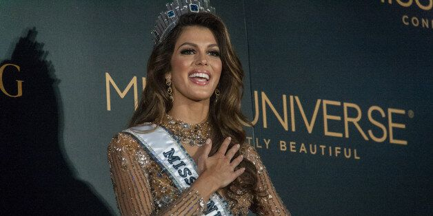 PASAY, METRO MANILA, PHILIPPINES - 2017/01/30: Miss France, Iris Mittenaere, the new Miss Universe during her first press conference at the Miss Universe Media center in Pasay City. (Photo by J Gerard Seguia/Pacific Press/LightRocket via Getty Images)