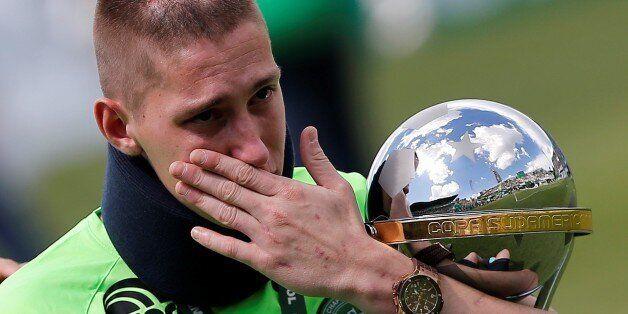 SAO PAULO, BRAZIL - JANUARY 21: Brazilian Chapecoense goalkeeper Jackson Follmann (C), a survivor of...